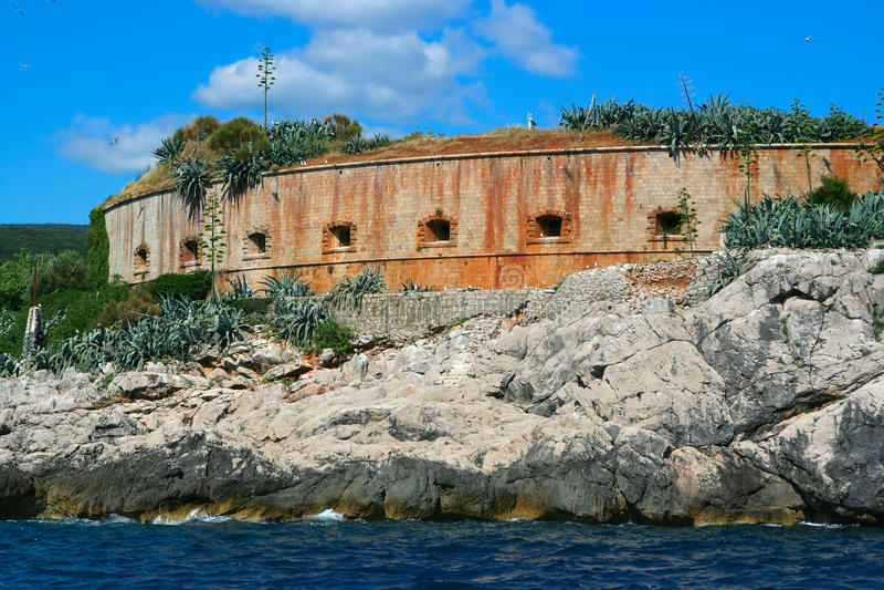 Insel von Mamula, Montenegro lizenzfreie stockbilder