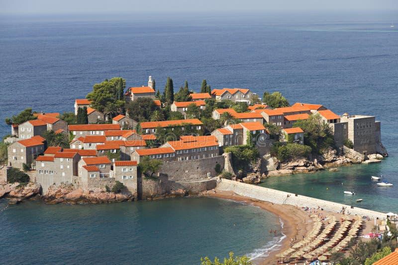 Insel von Sveti Stefan lizenzfreies stockbild