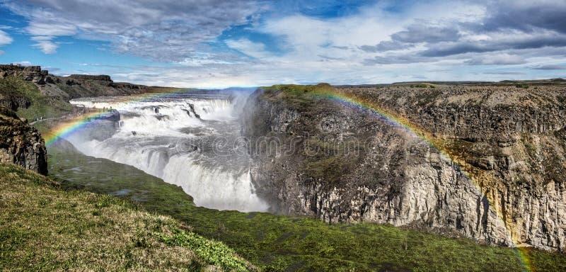 Insel-Wasserfall Gulfoss-Regenbogen stockfotografie