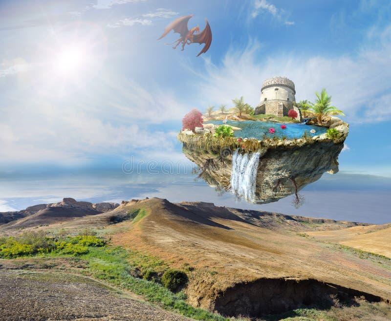 Inseldrache, der über eine Berglandschaft fliegt stock abbildung