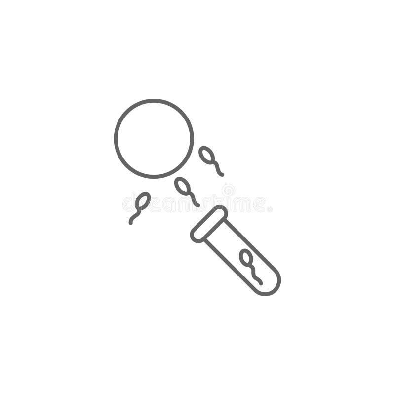 Insemination spermasymbol Best?ndsdel av inseminationsymbolen Tunn linje symbol f?r websitedesign och utveckling, stock illustrationer