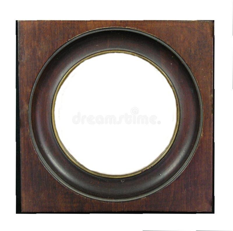 inserção redonda de madeira antiga vazia da moldura para retrato seu imagem ou texto fotografia de stock