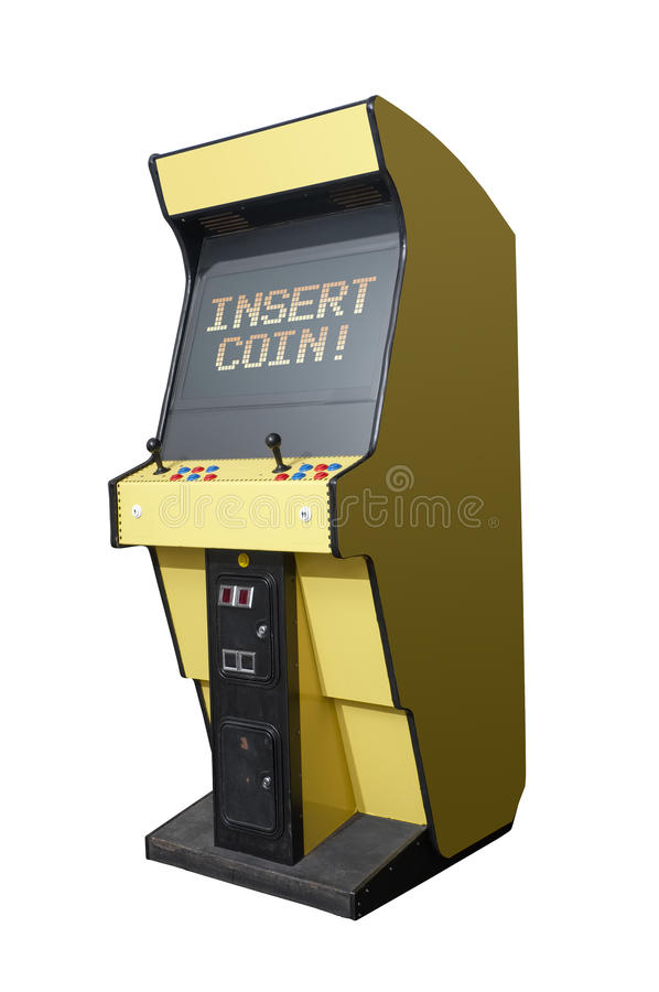 Insert coin on arcade machine vector illustration
