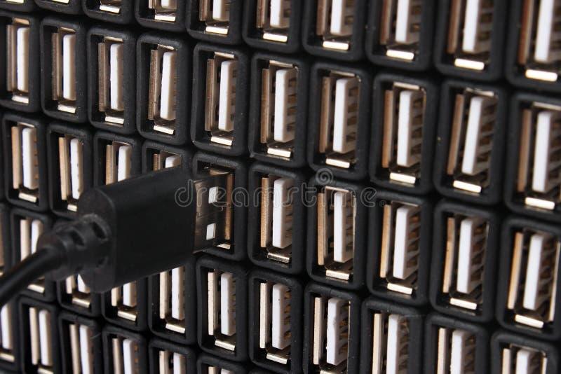 Insertion du câble d'USB dans un des nombreux ports USB photo libre de droits