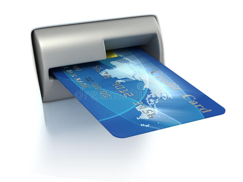 Insertion par la carte de crédit dans l'atmosphère illustration stock
