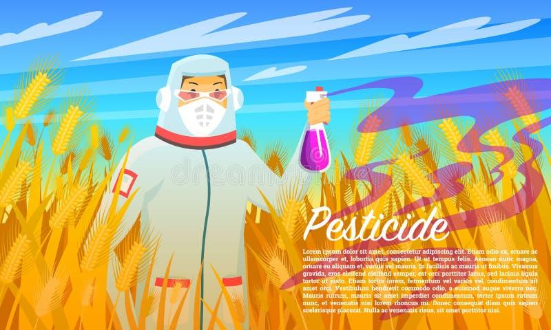 Inseticida do fazendeiro e produtos químicos de pulverização, insetos do tratamento no campo de trigo Homem no terno protetor com ilustração royalty free