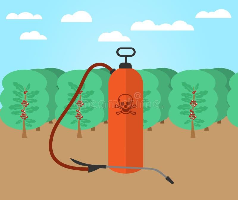 Inseticidas e produtos químicos usados em explorações agrícolas do café ilustração royalty free