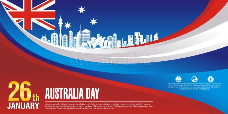 Inseto à moda, com estilo da bandeira de Austrália e projeto da onda ilustração stock
