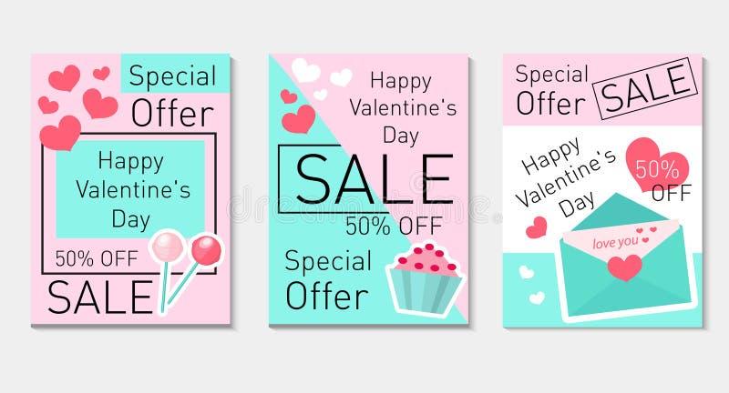 Inseto ajustado do dia feliz do ` s do Valentim, comprovante no estilo na moda moderno Oferta especial, discontos Coleção do dia  ilustração royalty free
