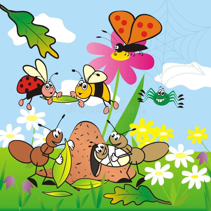 Inseto, bandeira bonito para crianças ilustração royalty free