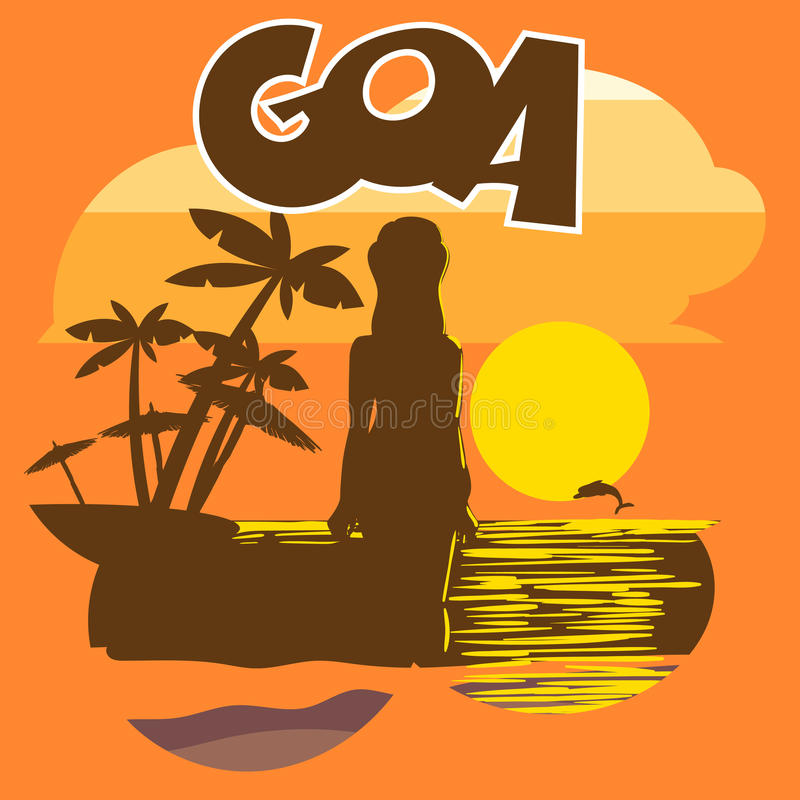 Inseto da praia de Goa com uma silhueta da mulher ilustração do vetor