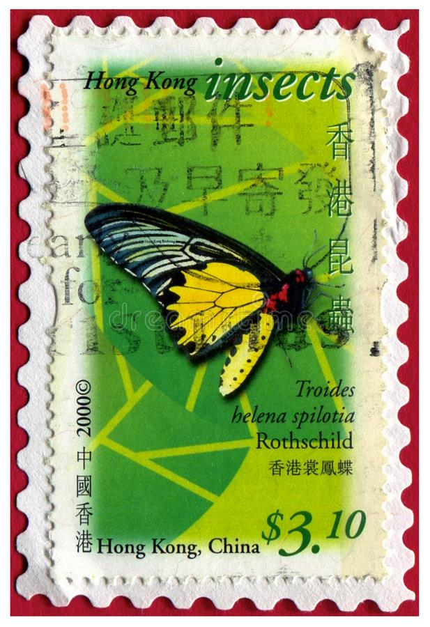 Inseto de Hong Hong China do selo postal da borboleta foto de stock
