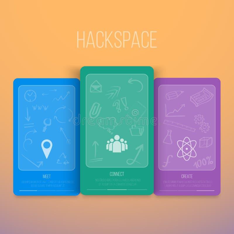 Inseto de Infographics Hackspace do vetor com ícones da tração da mão ilustração stock