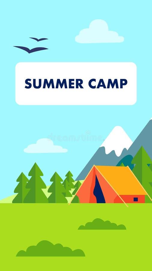Inseto do acampamento de verão, ilustração do vetor do folheto ilustração stock