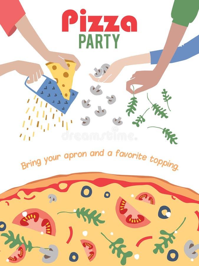 Inseto do cartaz do convite do partido da pizza do vetor jantar ilustração royalty free