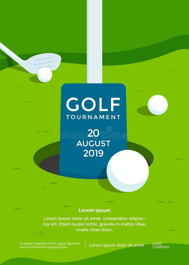 Inseto do esporte do molde do projeto do cartaz do competiam do golfe ilustração do vetor