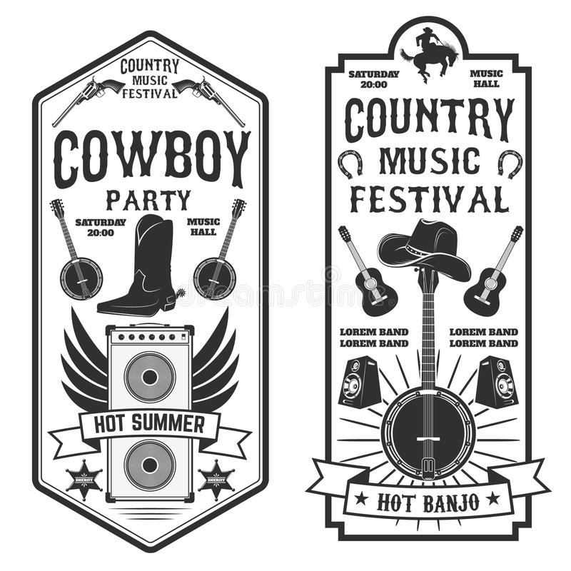 Inseto do festival de música country Partido do vaqueiro Festi ocidental da música ilustração royalty free