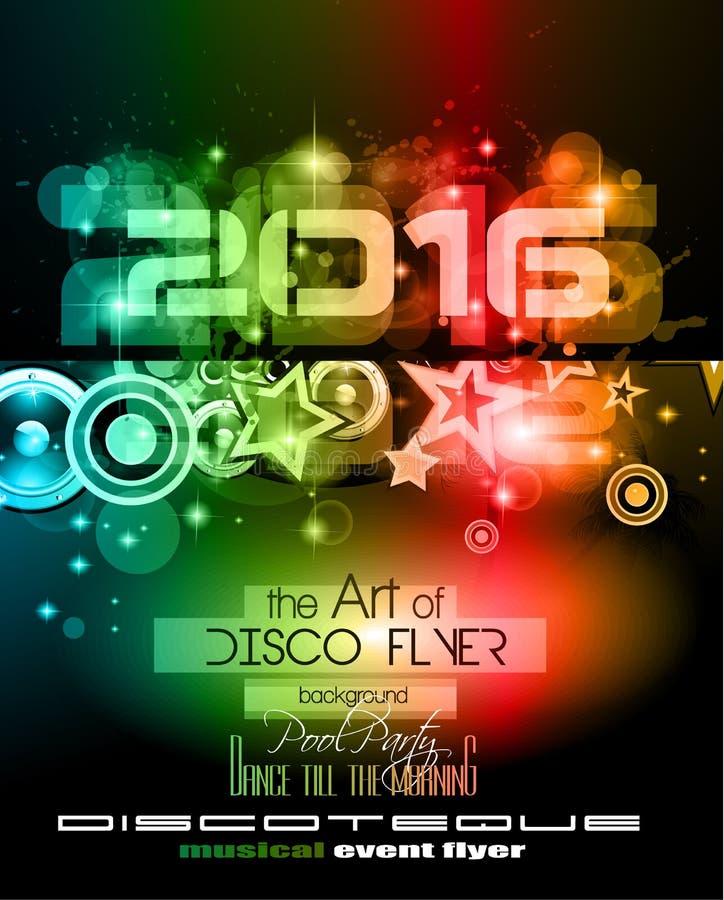 Inseto do partido de 2016 anos novos para eventos especiais da noite da música do clube ilustração stock