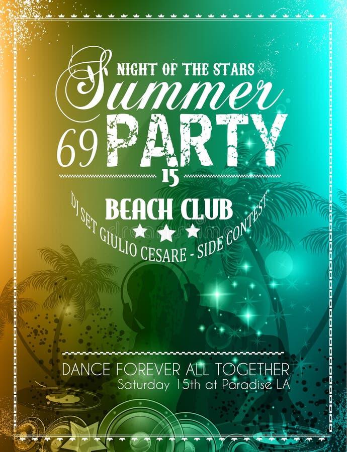 Inseto do partido do verão para eventos do clube da música ilustração stock
