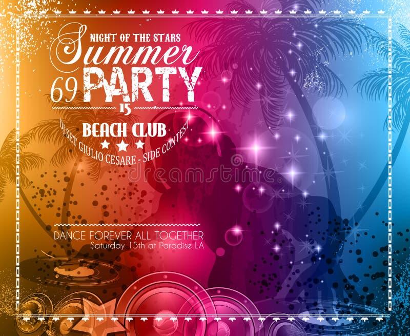 Inseto do partido do verão para eventos do clube da música ilustração do vetor