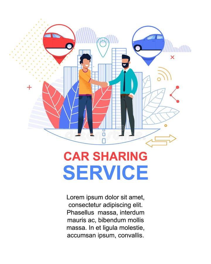 Inseto do serviço da partilha de carro Caráter dos homens novos ilustração stock