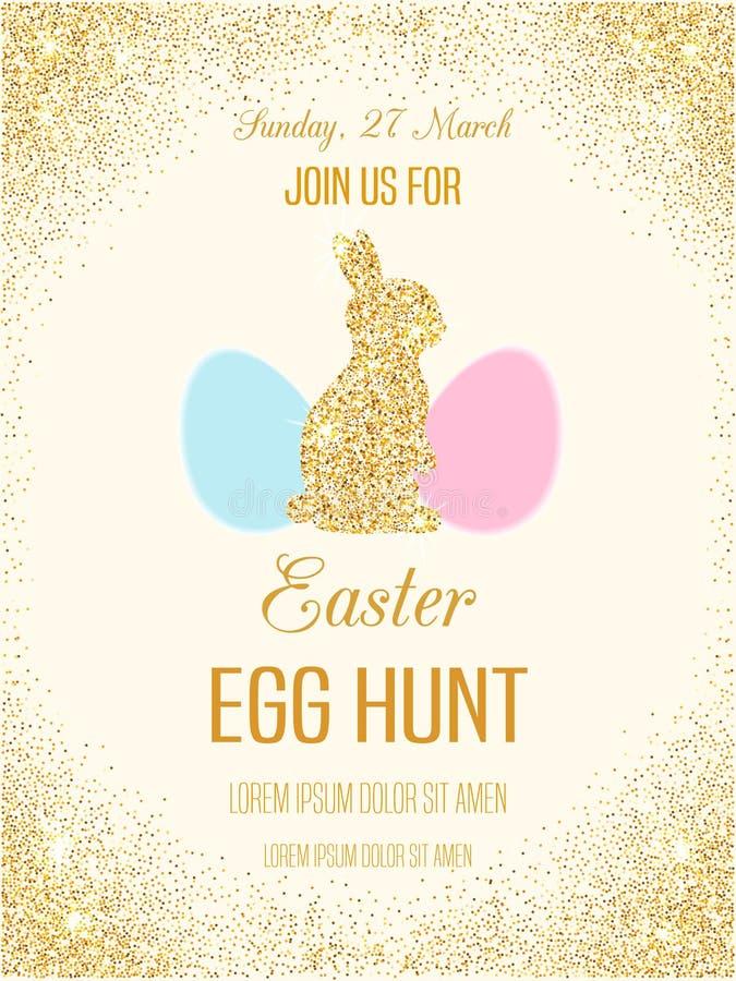 Inseto do vetor da caça do ovo da páscoa com brilho dourado fotografia de stock royalty free