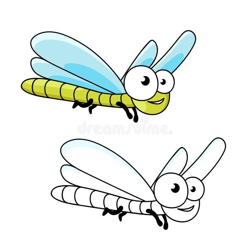 Inseto engraçado da libélula do verde dos desenhos animados ilustração stock
