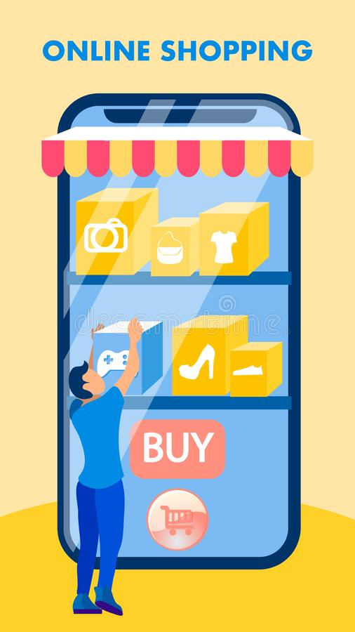 Inseto liso da venda móvel da loja da aplicação, folheto ilustração royalty free