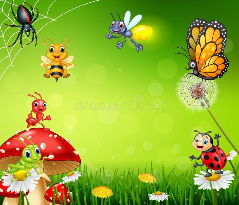 Inseto pequeno dos desenhos animados com fundo da natureza ilustração stock