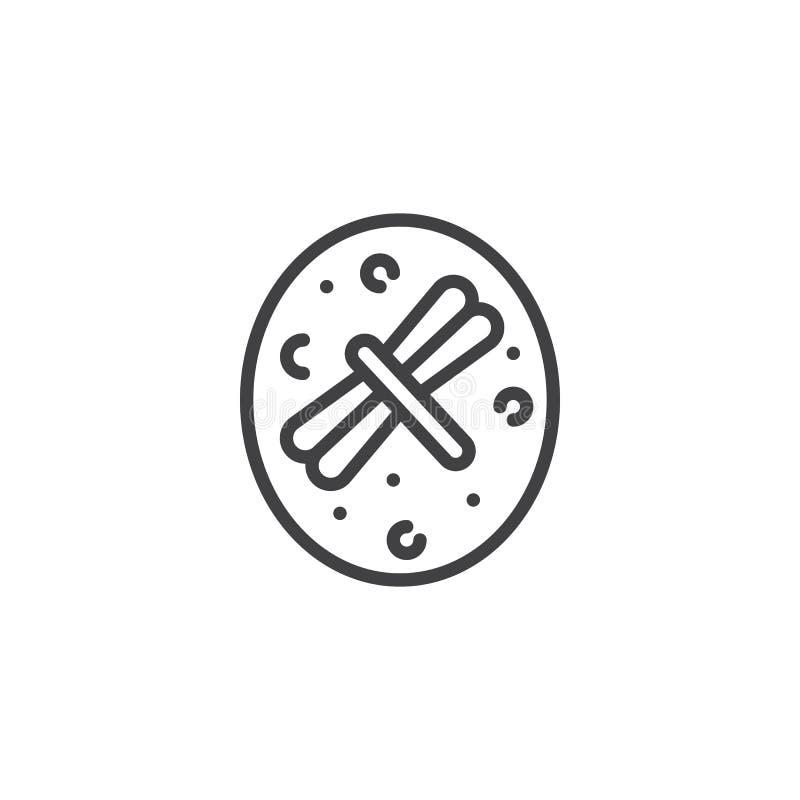 Inseto secado no ícone ambarino do esboço ilustração do vetor