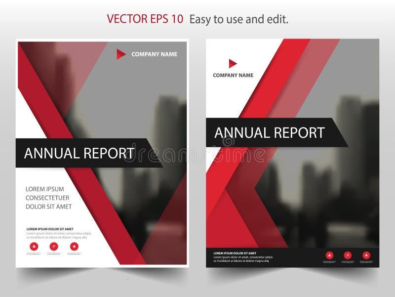 Inseto vermelho do folheto do informe anual do folheto do vetor do triângulo ilustração royalty free