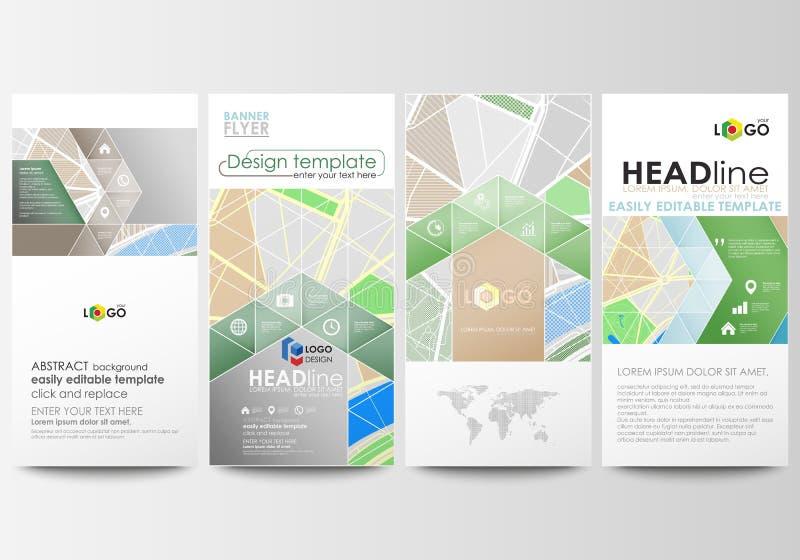 Insetos ajustados, bandeiras modernas Moldes do negócio Disposições editáveis fáceis Mapa da cidade com ruas Molde liso do projet ilustração royalty free