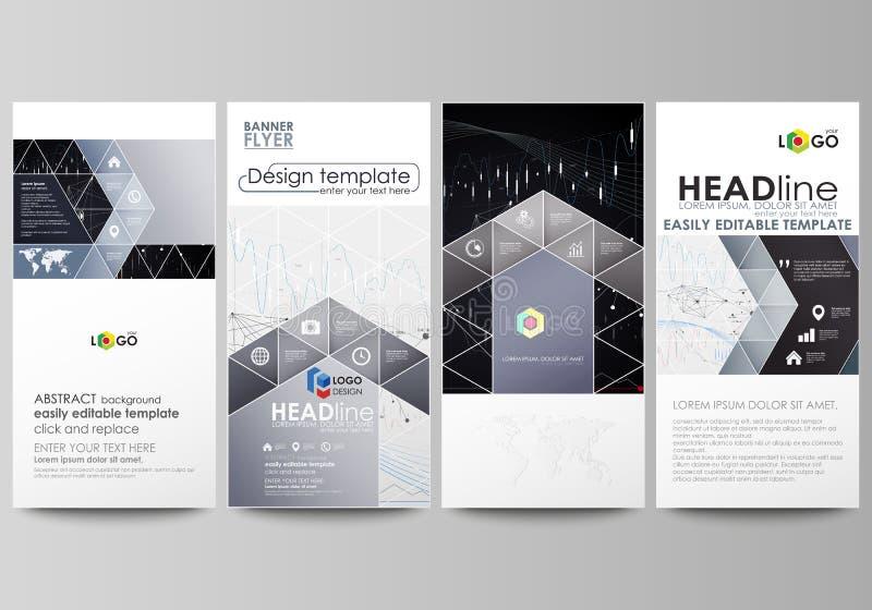 Insetos ajustados, bandeiras modernas Moldes do negócio Molde do projeto da tampa, disposições do vetor Fundo abstrato de Infogra ilustração stock