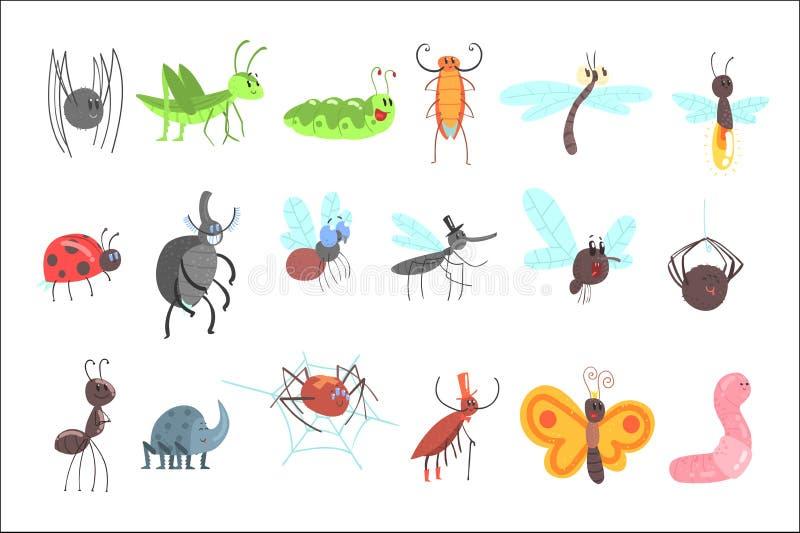 Insetos amig?veis bonitos ajustados com erros dos desenhos animados, besouros, moscas, aranhas e outros animais pequenos ilustração stock