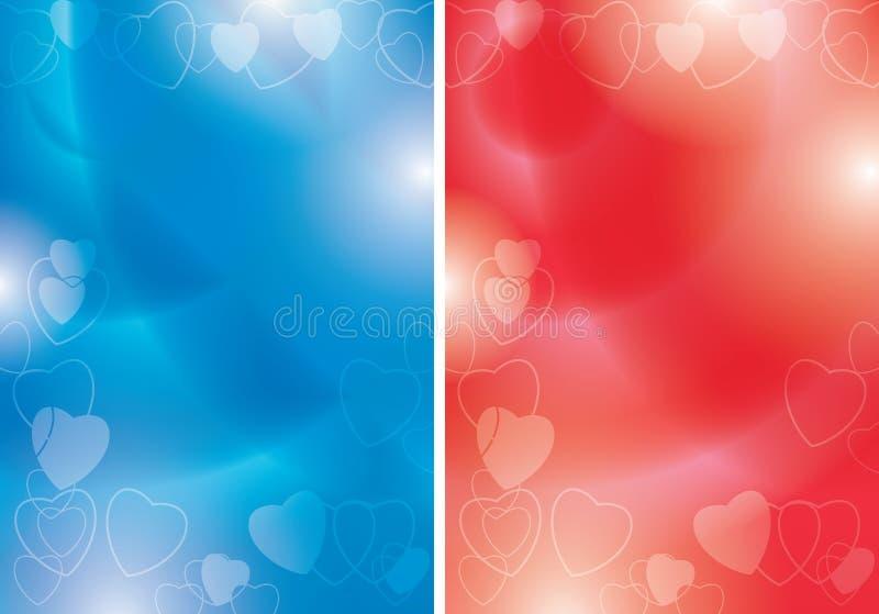 Insetos azuis e vermelhos do vetor com contornos dos corações e do inclinação - fundos para o evento romântico ilustração royalty free