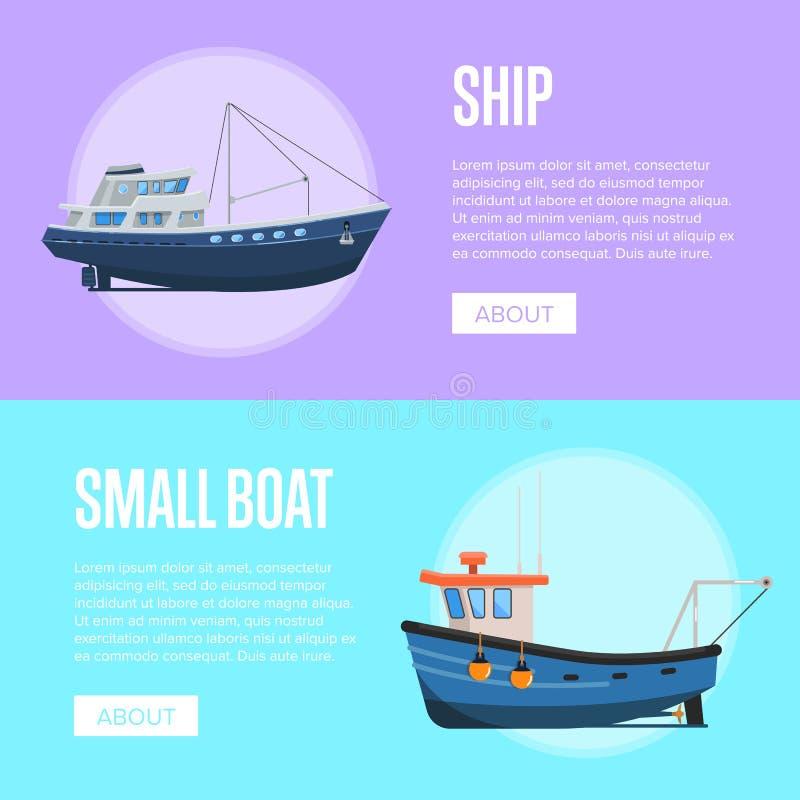 Insetos da empresa da pesca com os barcos de pesca pequenos ilustração stock