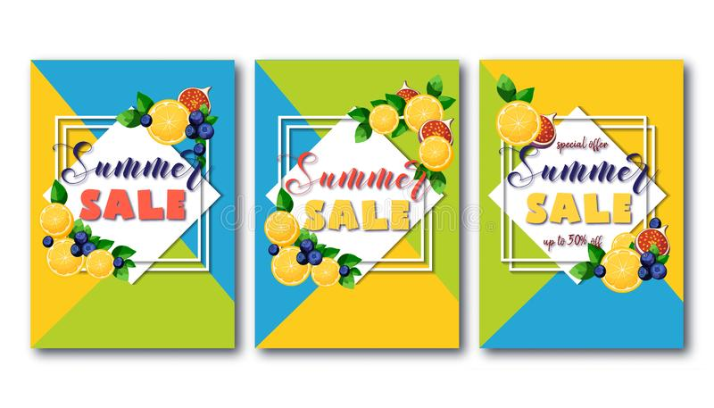 Insetos da venda do verão ajustados com frutos coloridos brilhantes no fundo verde, azul e amarelo geométrico ilustração do vetor