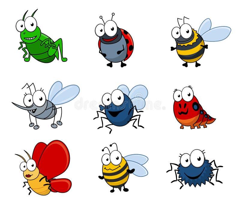 Insetos dos desenhos animados ajustados ilustração do vetor