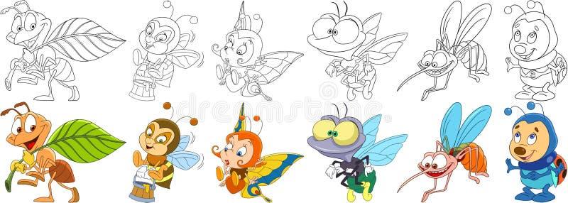 Insetos dos desenhos animados ajustados ilustração royalty free