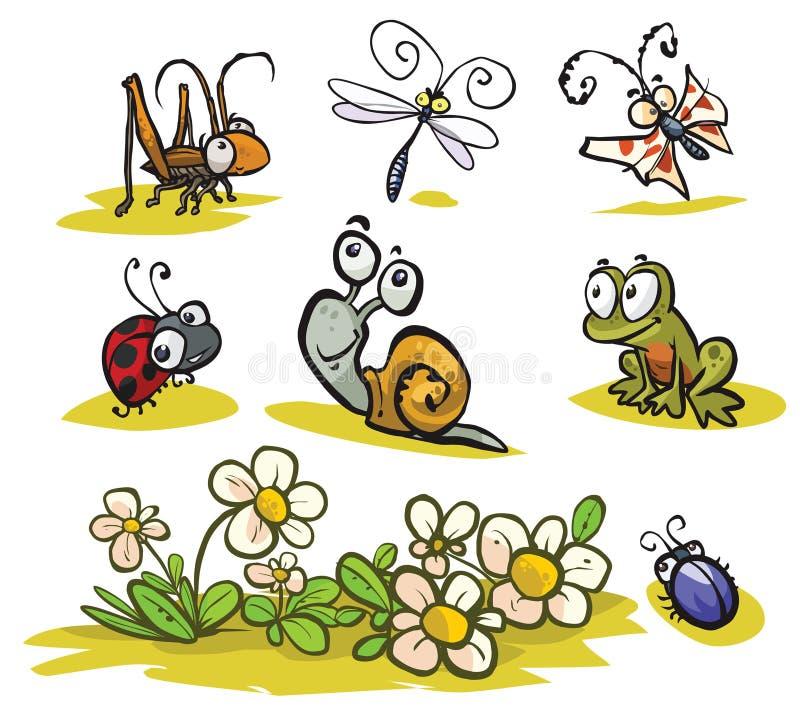 Insetos dos desenhos animados e animais pequenos ilustração do vetor
