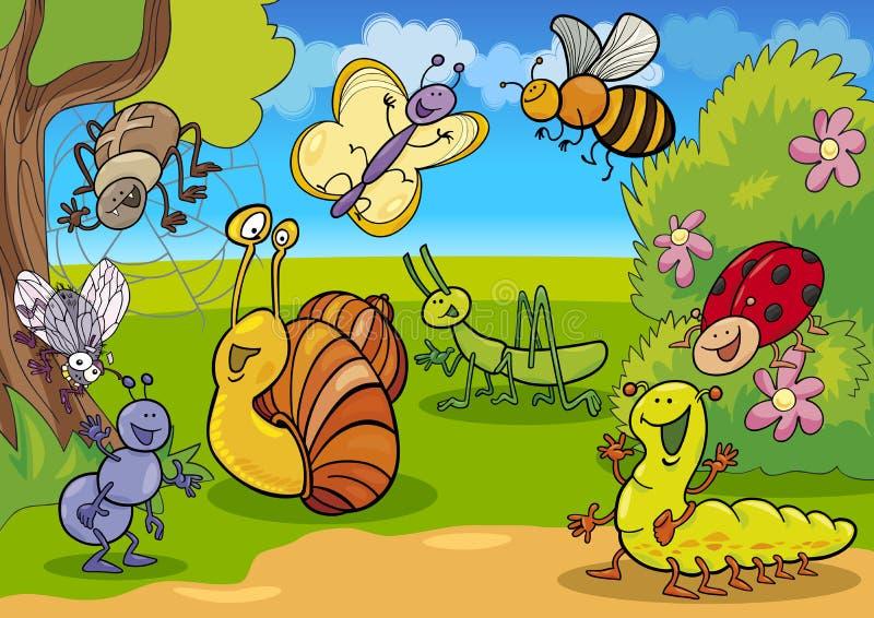 Insetos dos desenhos animados no prado ilustração do vetor