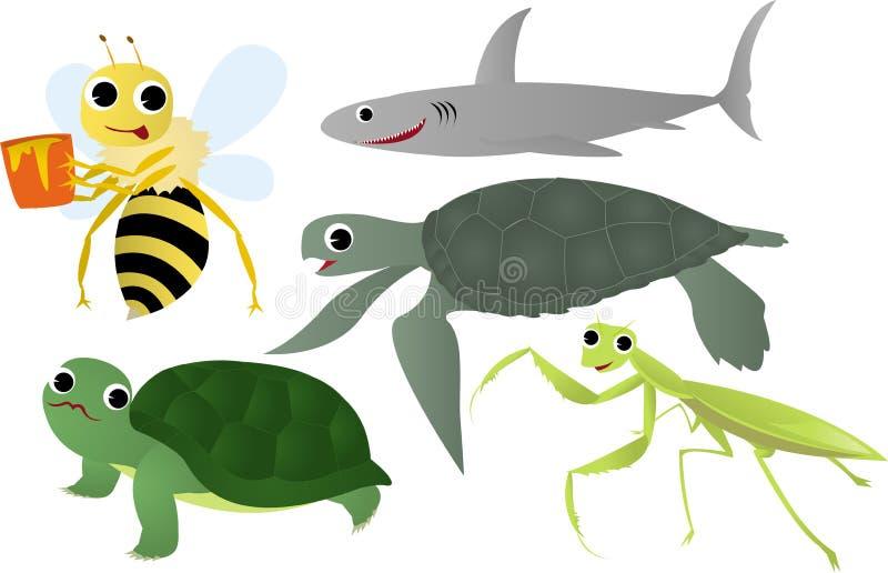 Insetos e animal de mar ilustração stock