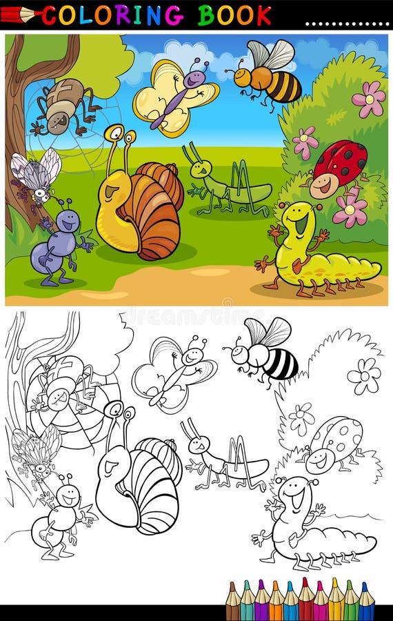 Insetos e erros para o livro ou a página de coloração ilustração stock