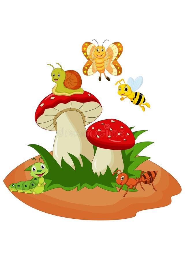 Insetos engraçados dos desenhos animados com cogumelo ilustração royalty free