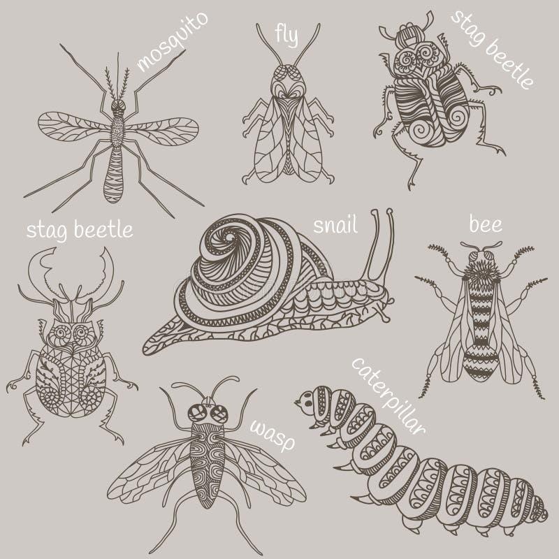 insetos 8 erros ilustração royalty free