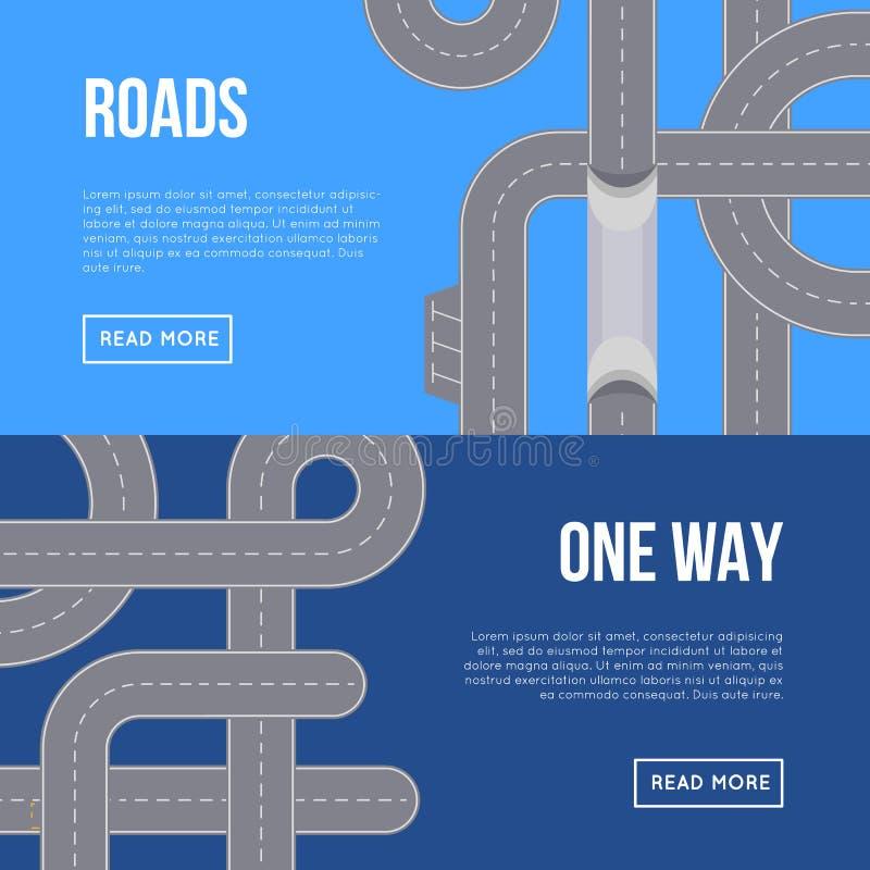 Insetos horizontais do tráfego de cidade com estradas da estrada ilustração royalty free