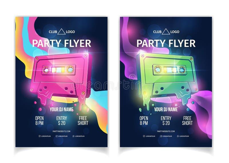 Insetos musicais do vetor dos desenhos animados do partido do clube noturno ilustração do vetor