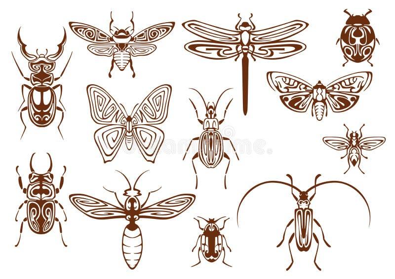 Insetos tribais de Brown para o projeto da tatuagem ou da mascote ilustração royalty free