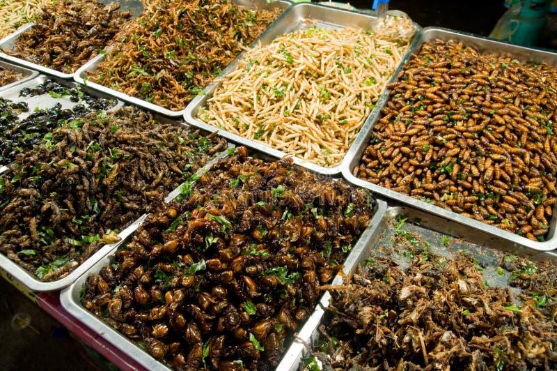 Insetos vendidos como petiscos em Tailândia fotografia de stock