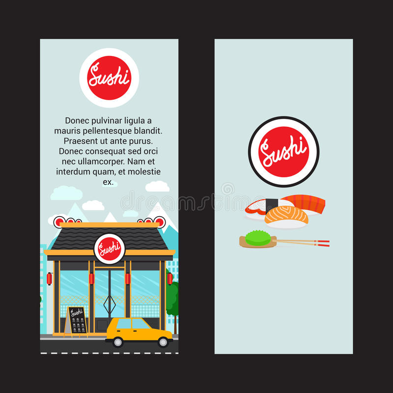 Insetos verticais do sushi com construção de loja ilustração do vetor